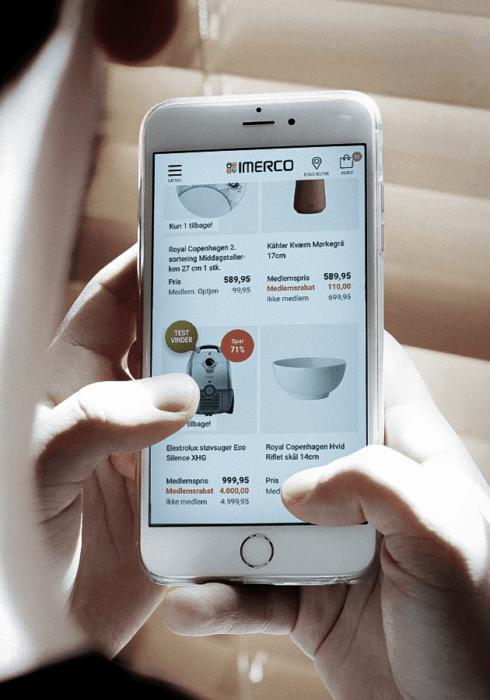 mobil der søger på imerco hjemmeside