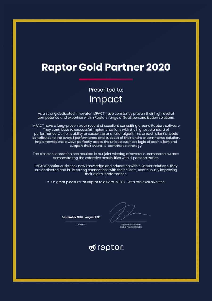 IMPACT ER RAPTOR GOLD PARTNER